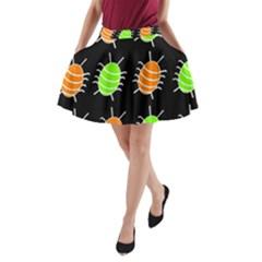 Green and orange bug pattern A-Line Pocket Skirt