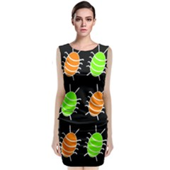 Green and orange bug pattern Classic Sleeveless Midi Dress