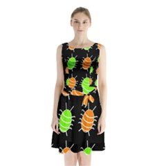 Green And Orange Bug Pattern Sleeveless Waist Tie Dress