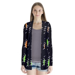Green and orange bug pattern Drape Collar Cardigan