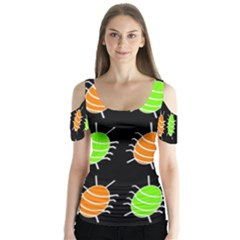 Green And Orange Bug Pattern Butterfly Sleeve Cutout Tee
