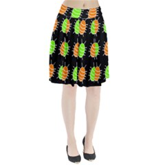 Green and orange bug pattern Pleated Skirt
