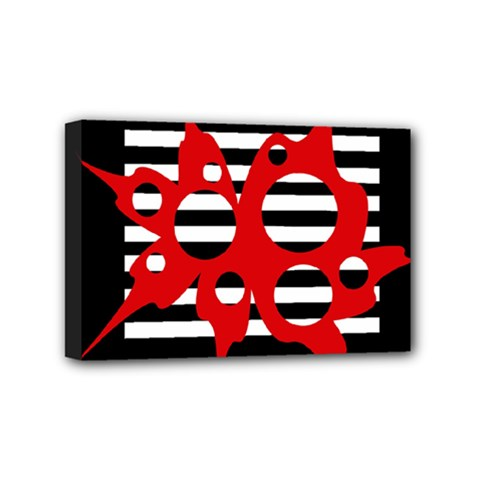 Red, black and white abstract design Mini Canvas 6  x 4