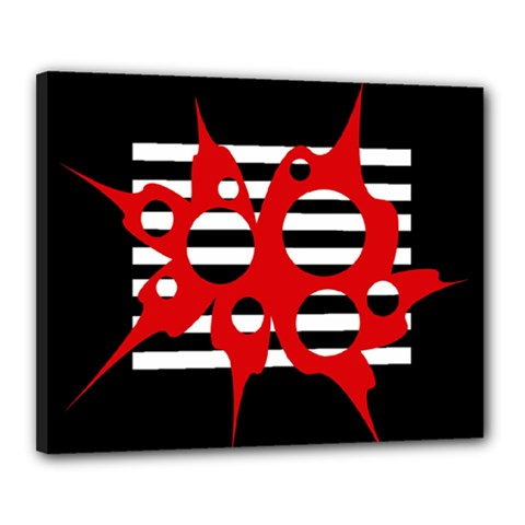 Red, black and white abstract design Canvas 20  x 16