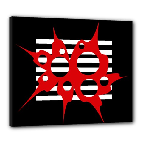 Red, black and white abstract design Canvas 24  x 20