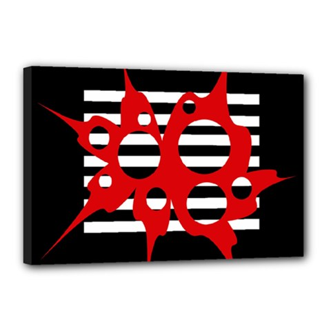 Red, black and white abstract design Canvas 18  x 12