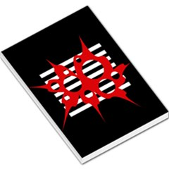 Red, black and white abstract design Large Memo Pads