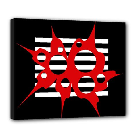 Red, black and white abstract design Deluxe Canvas 24  x 20