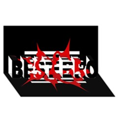 Red, black and white abstract design BEST BRO 3D Greeting Card (8x4)