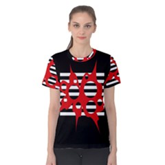 Red, black and white abstract design Women s Cotton Tee