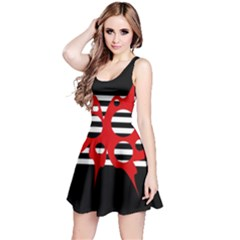 Red, black and white abstract design Reversible Sleeveless Dress