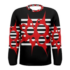 Red, black and white abstract design Men s Long Sleeve Tee