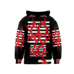 Red, black and white abstract design Kids  Zipper Hoodie