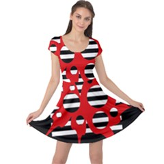 Red, black and white abstract design Cap Sleeve Dresses