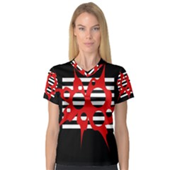 Red, black and white abstract design Women s V-Neck Sport Mesh Tee