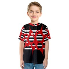 Red, black and white abstract design Kid s Sport Mesh Tee