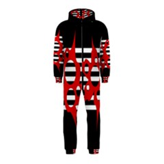 Red, black and white abstract design Hooded Jumpsuit (Kids)