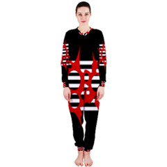 Red, black and white abstract design OnePiece Jumpsuit (Ladies)