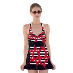 Red, black and white abstract design Halter Swimsuit Dress