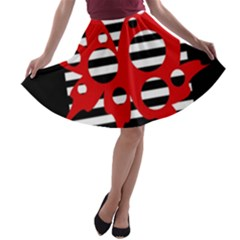 Red, black and white abstract design A-line Skater Skirt