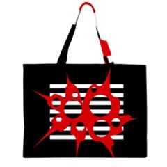 Red, black and white abstract design Large Tote Bag