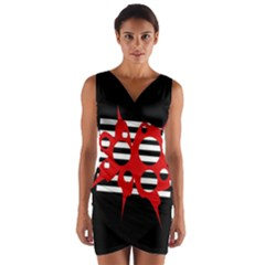Red, Black And White Abstract Design Wrap Front Bodycon Dress