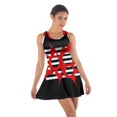 Red, black and white abstract design Cotton Racerback Dress