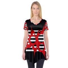 Red, black and white abstract design Short Sleeve Tunic