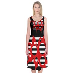 Red, Black And White Abstract Design Midi Sleeveless Dress