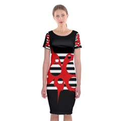 Red, black and white abstract design Classic Short Sleeve Midi Dress
