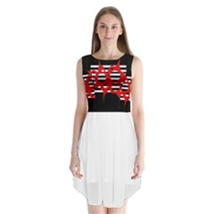 Red, black and white abstract design Sleeveless Chiffon Dress