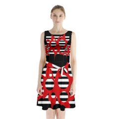 Red, black and white abstract design Sleeveless Waist Tie Dress