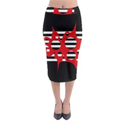 Red, black and white abstract design Midi Pencil Skirt