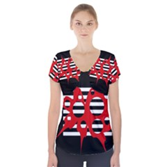 Red, Black And White Abstract Design Short Sleeve Front Detail Top