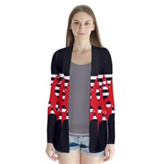 Red, black and white abstract design Drape Collar Cardigan