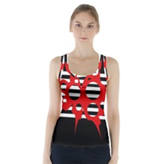 Red, black and white abstract design Racer Back Sports Top