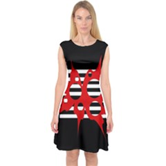 Red, black and white abstract design Capsleeve Midi Dress