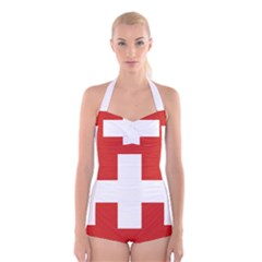 National Flag Of Switzerland Boyleg Halter Swimsuit