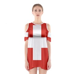National Flag Of Switzerland Cutout Shoulder Dress
