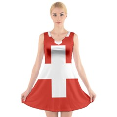 National Flag Of Switzerland V-Neck Sleeveless Skater Dress