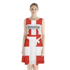 National Flag Of Switzerland Sleeveless Waist Tie Dress