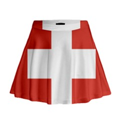 National Flag Of Switzerland Mini Flare Skirt