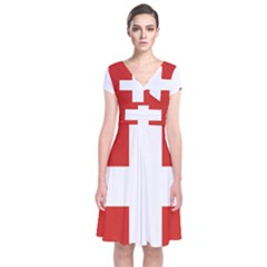 National Flag Of Switzerland Short Sleeve Front Wrap Dress