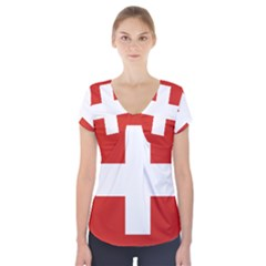 National Flag Of Switzerland Short Sleeve Front Detail Top