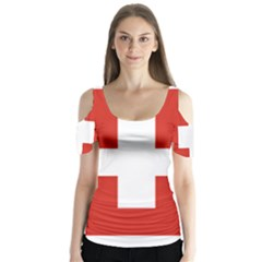 National Flag Of Switzerland Butterfly Sleeve Cutout Tee