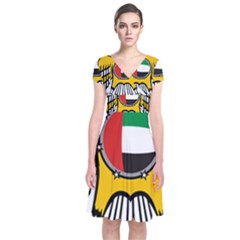 Emblem Of The United Arab Emirates Short Sleeve Front Wrap Dress