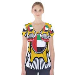 Emblem Of The United Arab Emirates Short Sleeve Front Detail Top
