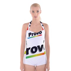 Flag Of Provo  Boyleg Halter Swimsuit