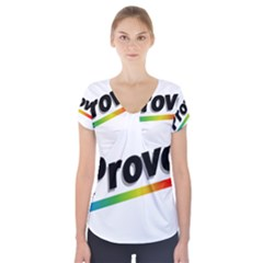 Flag Of Provo  Short Sleeve Front Detail Top
