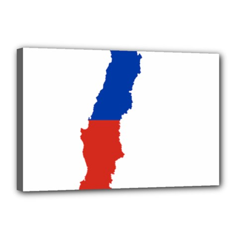Flag Map Of Chile  Canvas 18  X 12